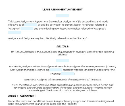Lease Assignment Agreement preview