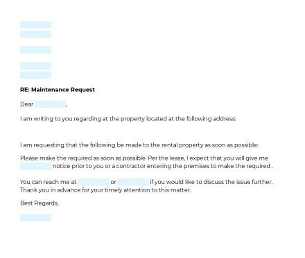 Tenant Maintenance Request Letter preview