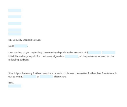 Security Deposit Return Letter preview