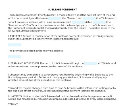 Sublease Agreement preview