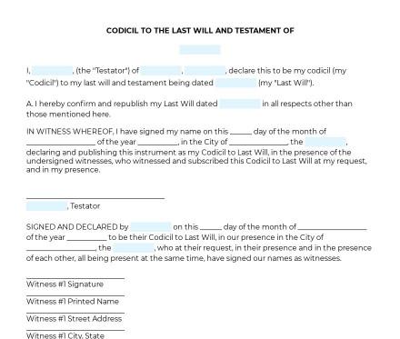 Codicil to Last Will and Testament preview