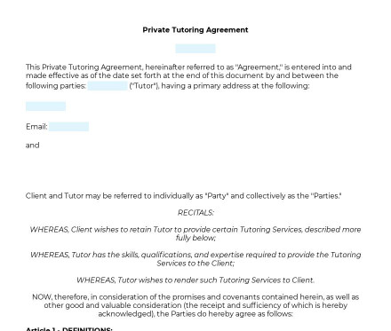 Private Tutoring Agreement preview