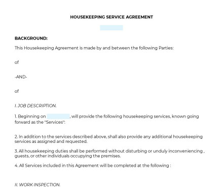 Housekeeper Service Agreement preview
