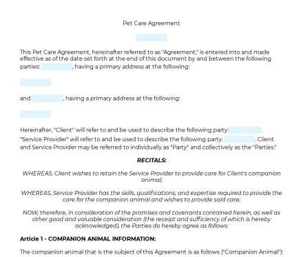 Pet Care Agreement preview