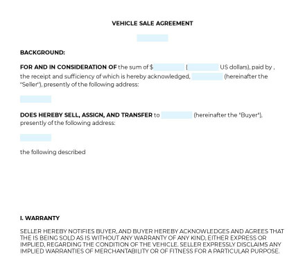 Vehicle Sale Agreement preview