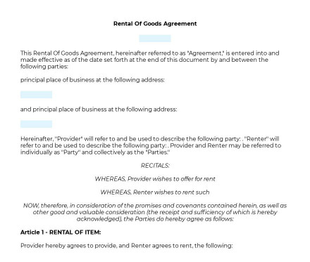 Rental of Goods Agreement preview