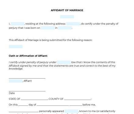 Affidavit of Marriage preview
