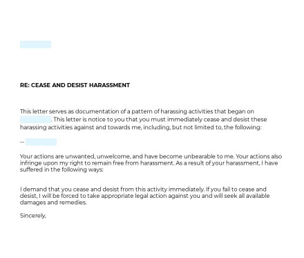 Harassment Cease and Desist Letter preview