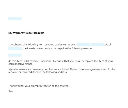 Warranty Repair Request Letter preview