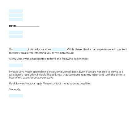 Complaint Letter To Retail Business preview