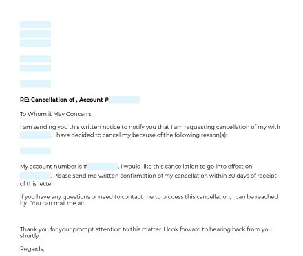 Cancellation Letter (Subscription, Membership) preview