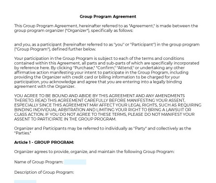 Group Program Agreement preview