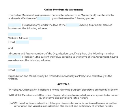 Online Membership Agreement preview