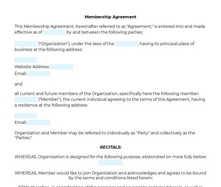 Membership Agreement preview