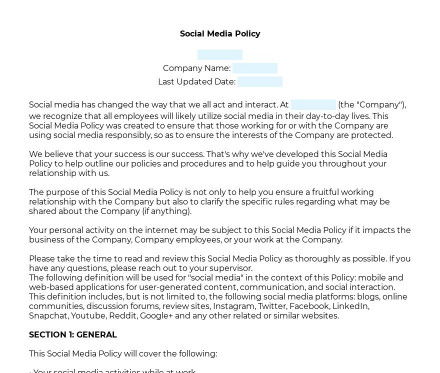 Social Media Policy preview