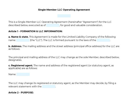 Single-Member LLC Operating Agreement preview