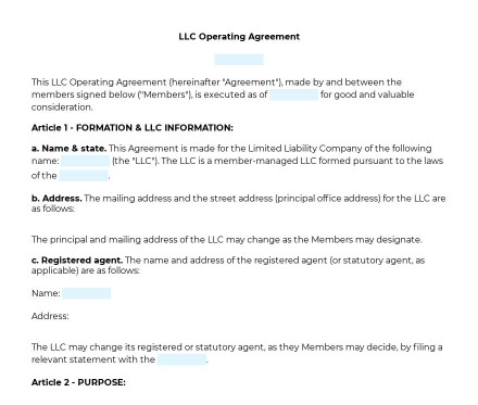 LLC Operating Agreement preview