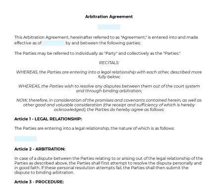Arbitration Agreement preview