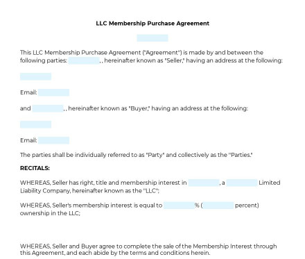 LLC Membership Purchase Agreement preview