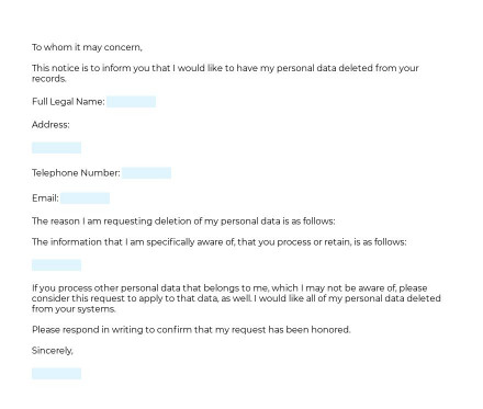 Personal Data Deletion Request preview