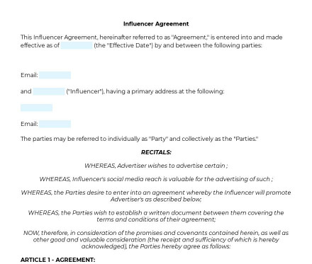 Influencer Agreement preview