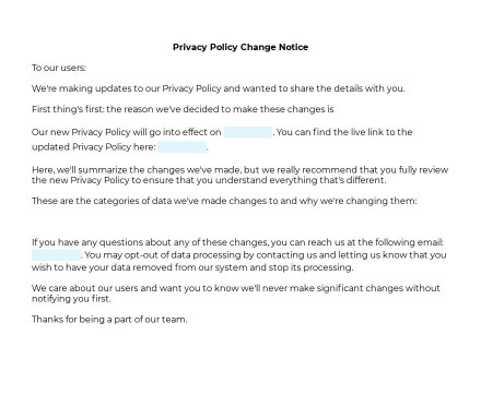 Privacy Policy Change Notice preview