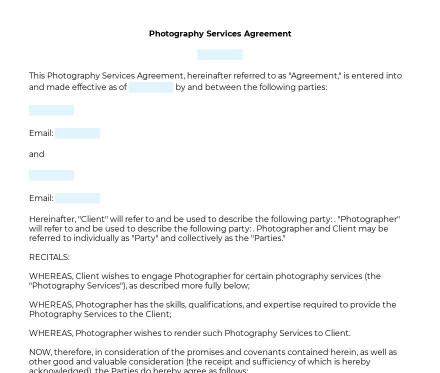 Photography Services Contract preview