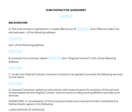 Subcontractor Agreement preview