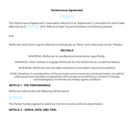 Performance Agreement preview