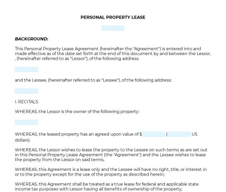 Personal Property Lease Agreement preview