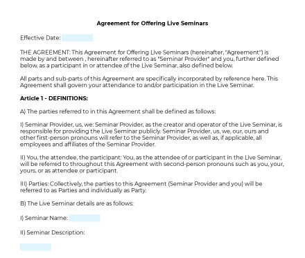Agreement for Offering Live Seminars preview