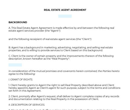 Real Estate Agent Agreement preview