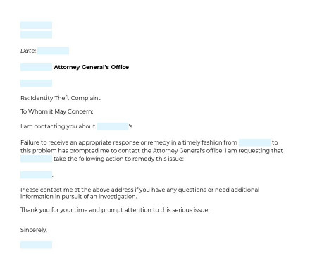 Attorney General Identity Theft Complaint Letter preview