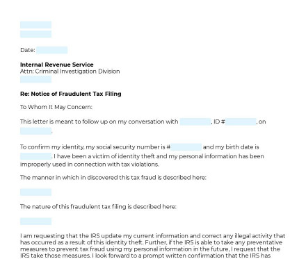 Notification of Fraudulent Tax Filing preview