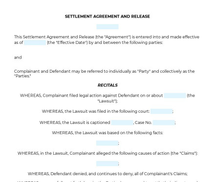 Settlement Agreement and Release preview