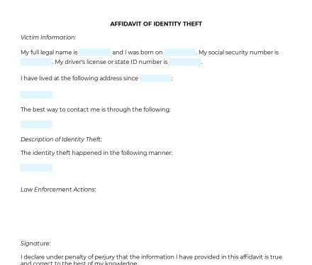 Affidavit of Identity Theft preview