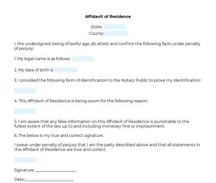 Affidavit of Residence preview
