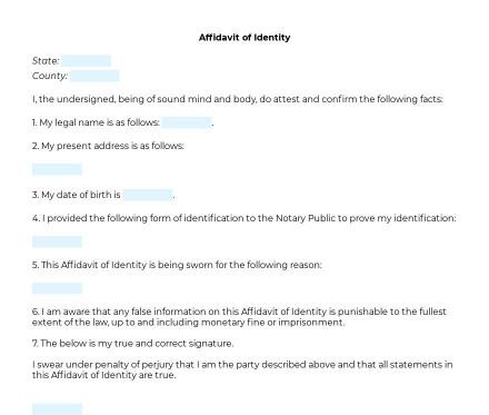 Affidavit of Identity preview