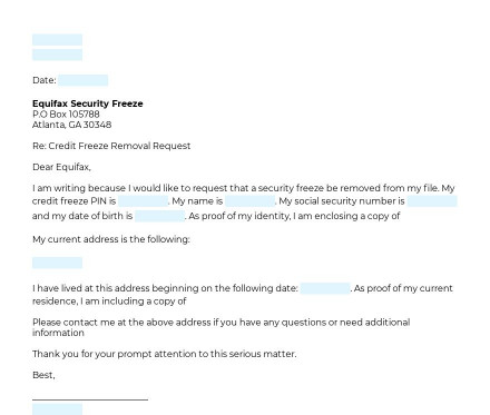 Credit Freeze Removal Request preview