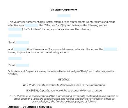 Volunteer Agreement preview